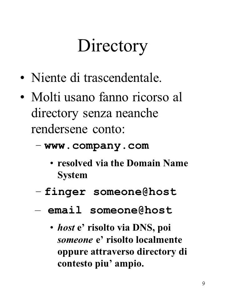 9 Directory Niente di trascendentale. Molti usano fanno ricorso al directory senza neanche rendersene conto: –www.company.com resolved via the Domain