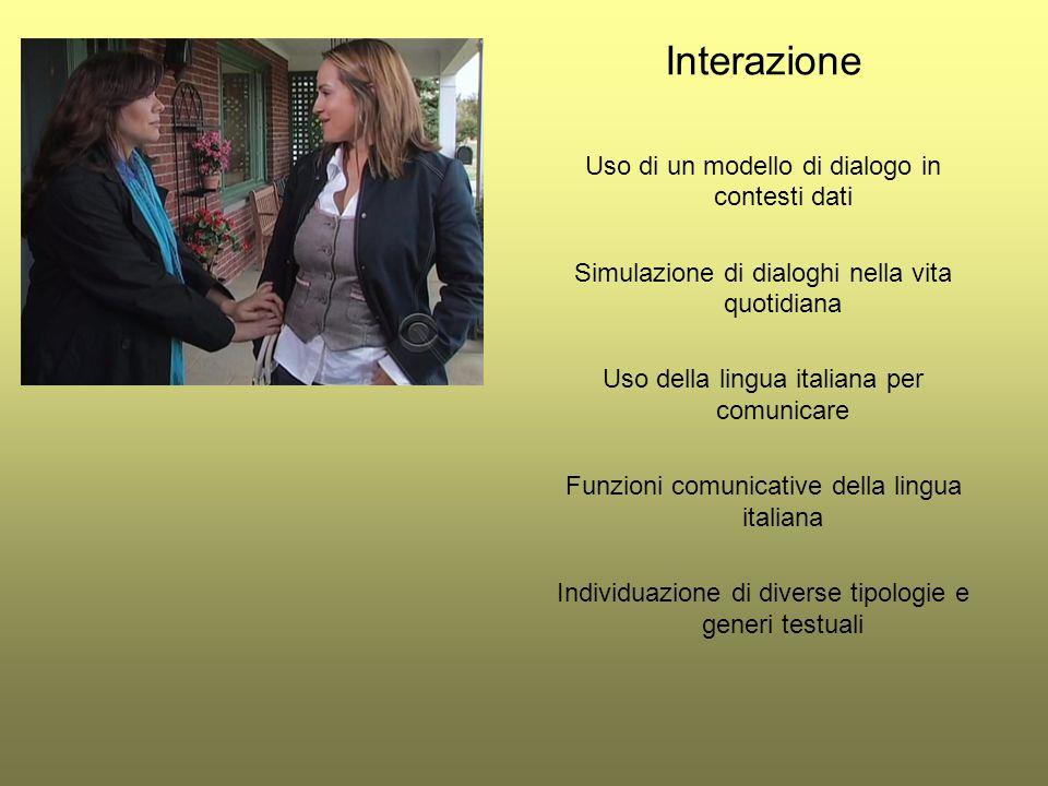 Interazione Uso di un modello di dialogo in contesti dati Simulazione di dialoghi nella vita quotidiana Uso della lingua italiana per comunicare Funzi