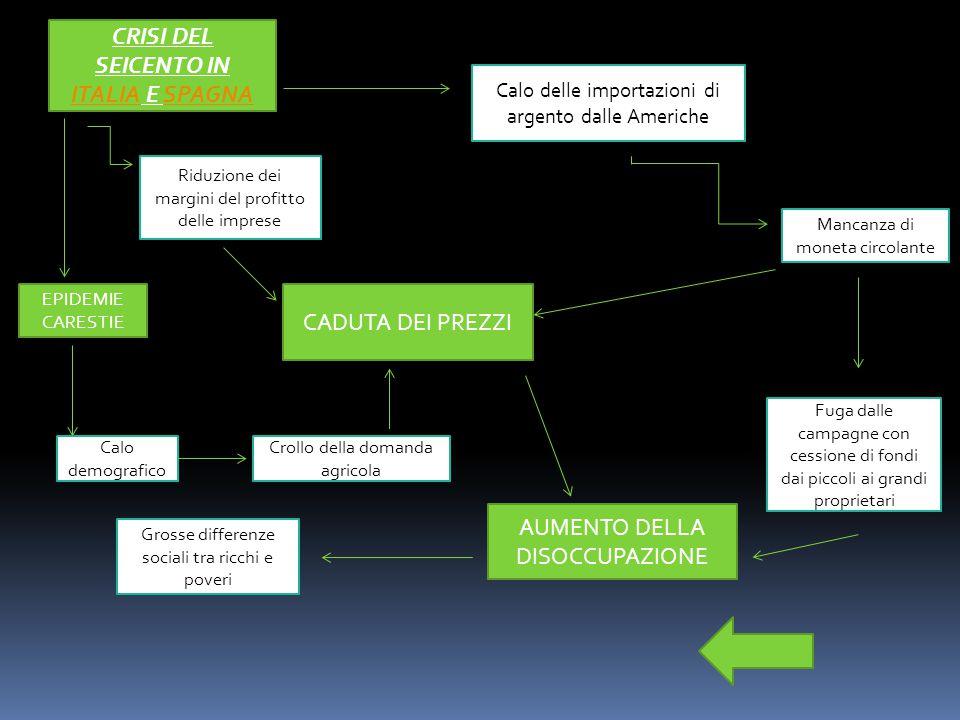 CRISI DEL SEICENTO IN ITALIA E SPAGNA ITALIASPAGNA Calo delle importazioni di argento dalle Americhe Mancanza di moneta circolante Fuga dalle campagne con cessione di fondi dai piccoli ai grandi proprietari CADUTA DEI PREZZI Riduzione dei margini del profitto delle imprese EPIDEMIE CARESTIE Calo demografico Crollo della domanda agricola AUMENTO DELLA DISOCCUPAZIONE Grosse differenze sociali tra ricchi e poveri