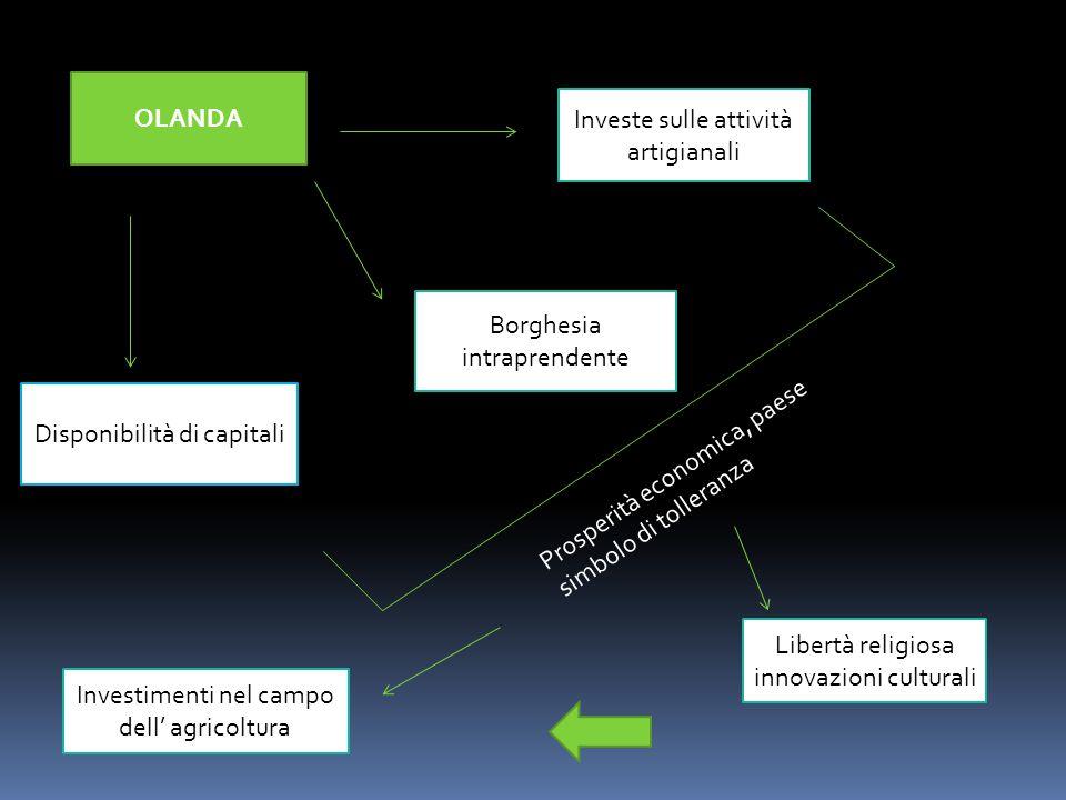 OLANDA Investe sulle attività artigianali Borghesia intraprendente Disponibilità di capitali Prosperità economica, paese simbolo di tolleranza Libertà religiosa innovazioni culturali Investimenti nel campo dell' agricoltura