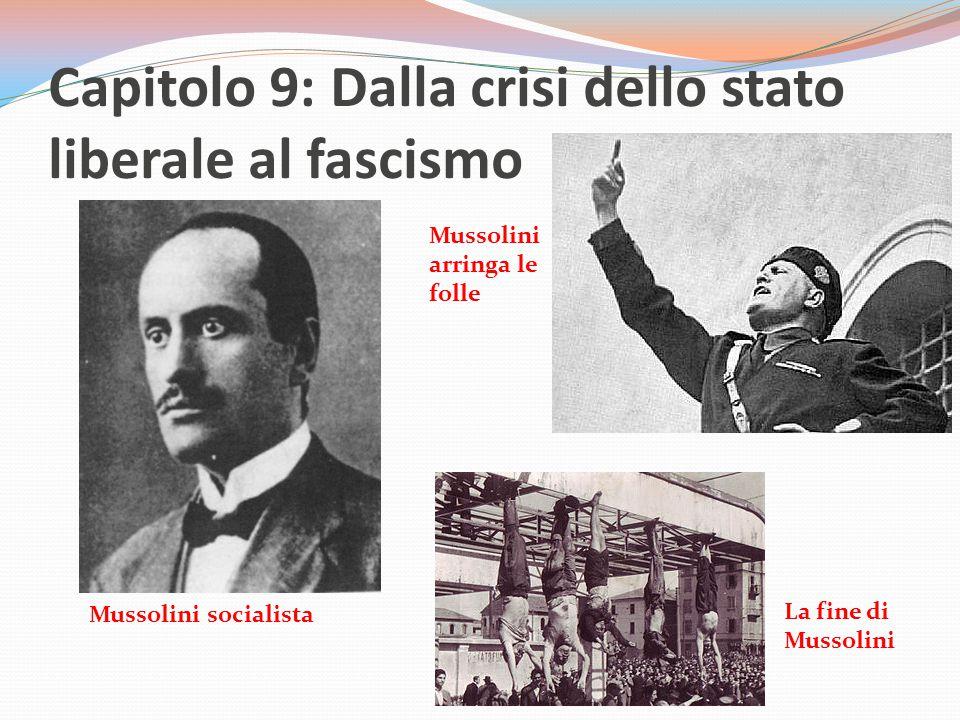 Capitolo 9: Dalla crisi dello stato liberale al fascismo Mussolini socialista Mussolini arringa le folle La fine di Mussolini