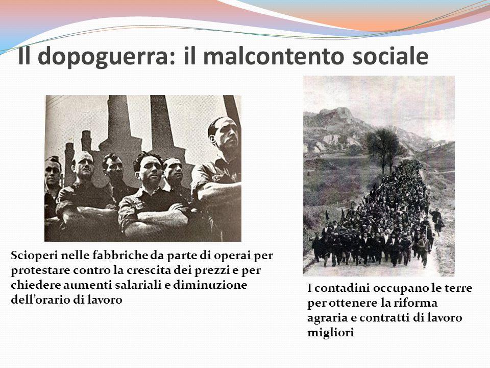 Il dopoguerra: il malcontento sociale Scioperi nelle fabbriche da parte di operai per protestare contro la crescita dei prezzi e per chiedere aumenti salariali e diminuzione dell'orario di lavoro I contadini occupano le terre per ottenere la riforma agraria e contratti di lavoro migliori