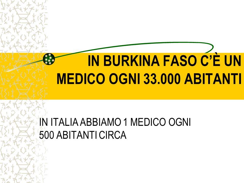 IN BURKINA FASO C'È UN MEDICO OGNI 33.000 ABITANTI IN ITALIA ABBIAMO 1 MEDICO OGNI 500 ABITANTI CIRCA