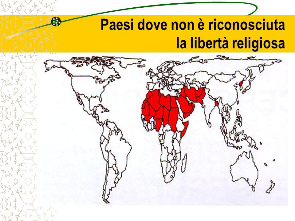 Paesi dove non è riconosciuta la libertà religiosa