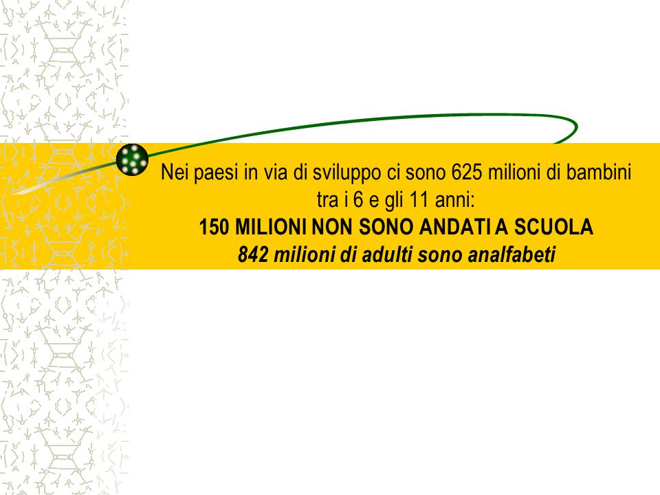 Nei paesi in via di sviluppo ci sono 625 milioni di bambini tra i 6 e gli 11 anni: 150 MILIONI NON SONO ANDATI A SCUOLA 842 milioni di adulti sono analfabeti