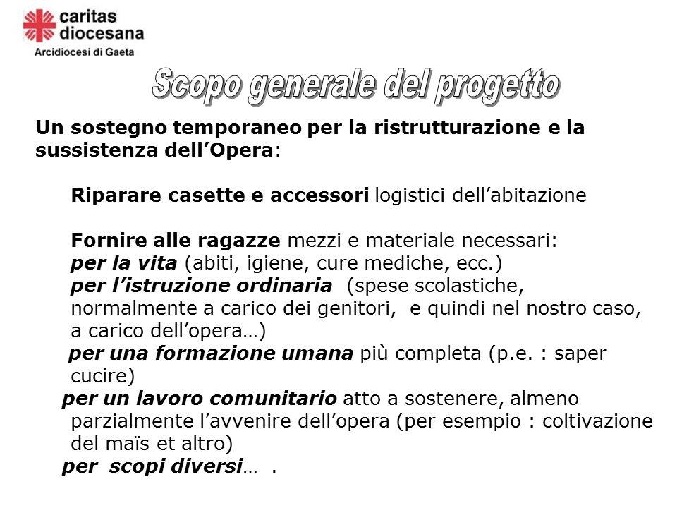 Un sostegno temporaneo per la ristrutturazione e la sussistenza dell'Opera: Riparare casette e accessori logistici dell'abitazione Fornire alle ragazz