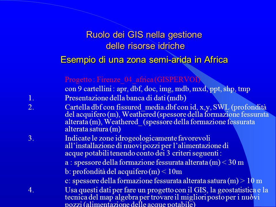 3 Ruolo dei GIS nella gestione delle risorse idriche Esempio di una zona semi-arida in Africa Progetto : Firenze_04_africa (GISPERVOI) con 9 cartellini : apr, dbf, doc, img, mdb, mxd, ppt, shp, tmp 1.