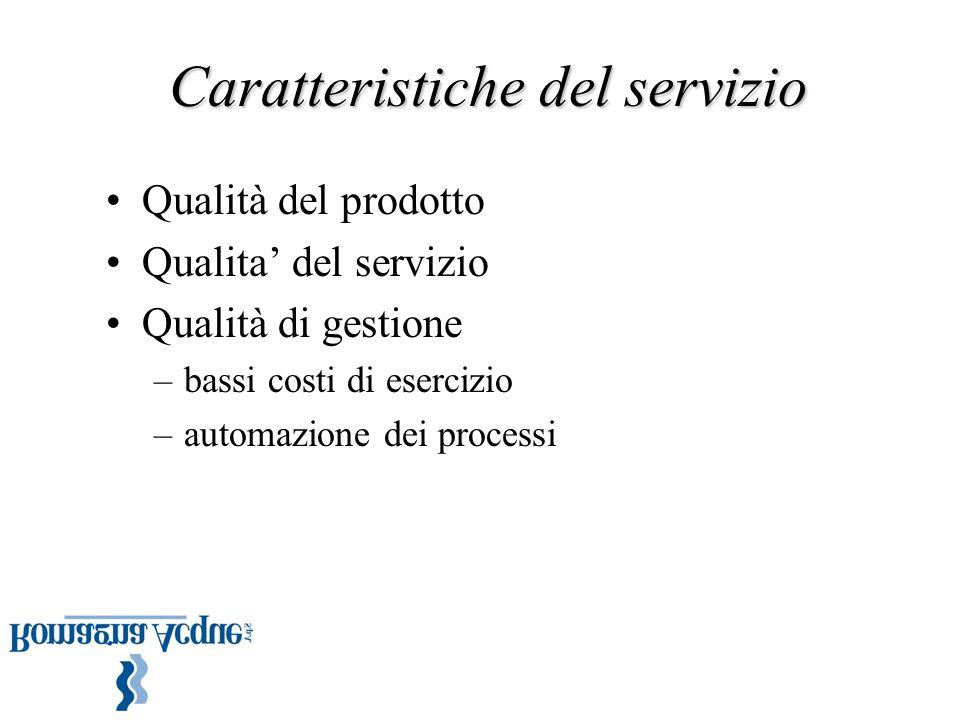 Caratteristiche del servizio Qualità del prodotto Qualita' del servizio Qualità di gestione –bassi costi di esercizio –automazione dei processi