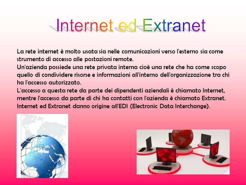 La rete internet è molto usata sia nelle comunicazioni verso l esterno sia come strumento di accesso alle postazioni remote.