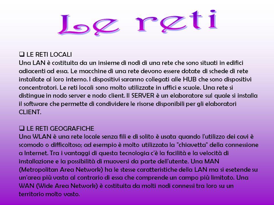 LE RETI LOCALI Una LAN è costituita da un insieme di nodi di una rete che sono situati in edifici adiacenti ad essa.