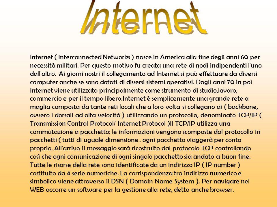 Internet ( Interconnected Networks ) nasce in America alla fine degli anni 60 per necessità militari.