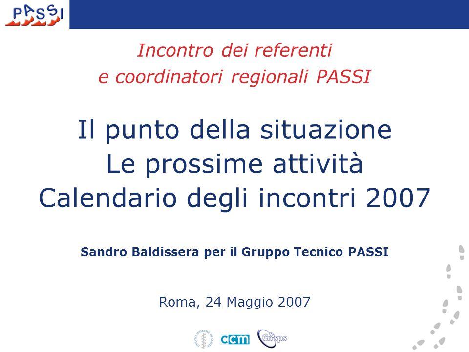 Incontro dei referenti e coordinatori regionali PASSI Il punto della situazione Le prossime attività Calendario degli incontri 2007 Sandro Baldissera per il Gruppo Tecnico PASSI Roma, 24 Maggio 2007