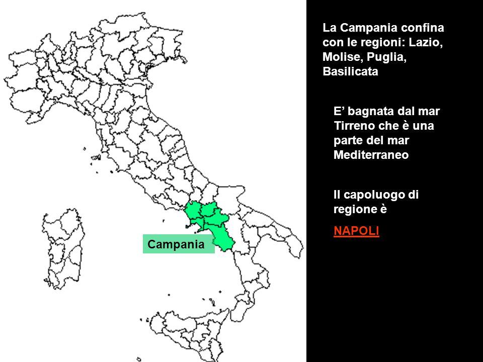 Campania La Campania confina con le regioni: Lazio, Molise, Puglia, Basilicata E' bagnata dal mar Tirreno che è una parte del mar Mediterraneo Il capo