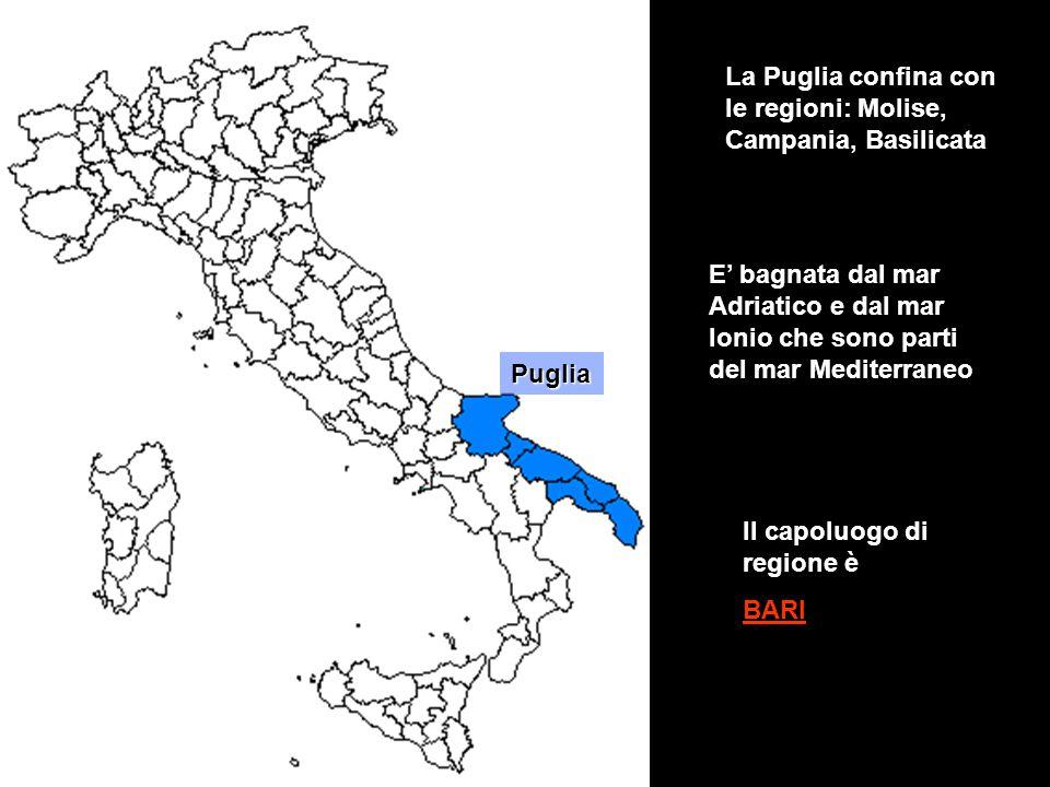 Puglia La Puglia confina con le regioni: Molise, Campania, Basilicata Il capoluogo di regione è BARI E' bagnata dal mar Adriatico e dal mar Ionio che