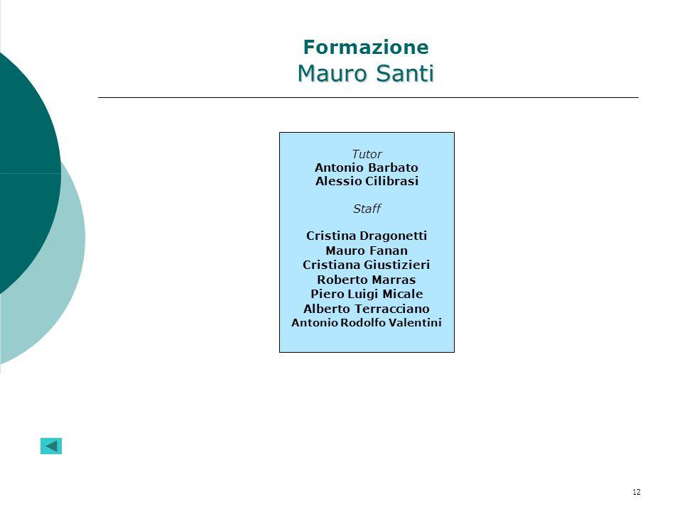 12 Mauro Santi Formazione Mauro Santi Tutor Antonio Barbato Alessio Cilibrasi Staff Cristina Dragonetti Mauro Fanan Cristiana Giustizieri Roberto Marr