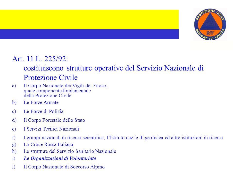 Art. 6 L. 225/92: sono componenti del Servizio Nazionale di Protezione Civile Le Amministrazioni dello Stato Le Regioni Le Province I Comuni e le Comu