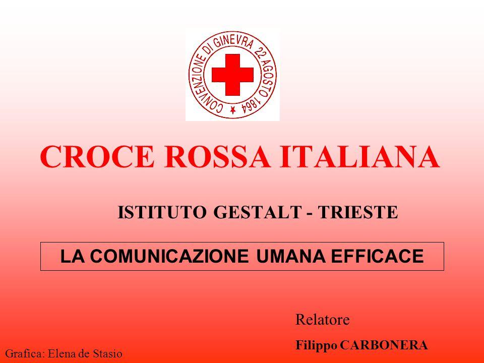 CROCE ROSSA ITALIANA ISTITUTO GESTALT - TRIESTE LA COMUNICAZIONE UMANA EFFICACE Relatore Filippo CARBONERA Grafica: Elena de Stasio
