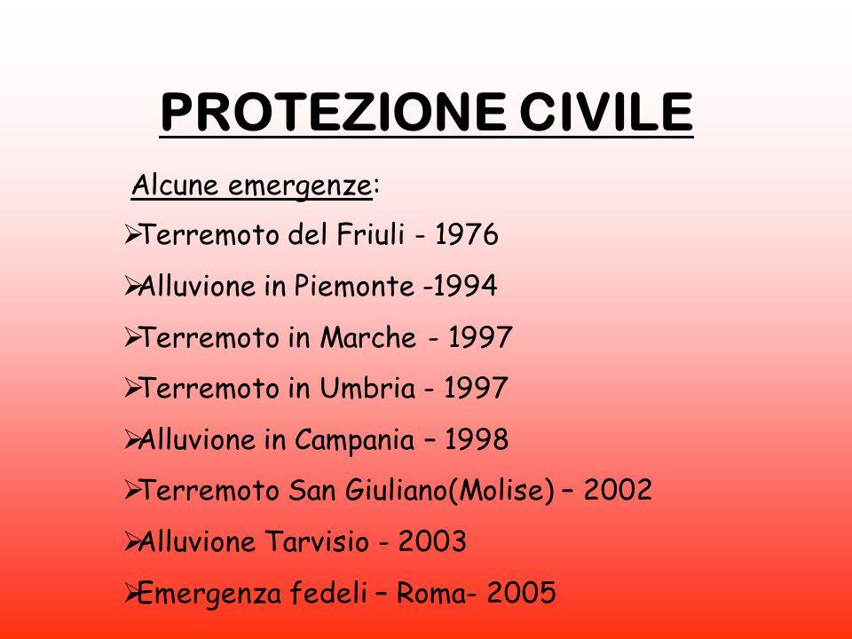 PROTEZIONE CIVILE  Terremoto del Friuli - 1976  Alluvione in Piemonte -1994  Terremoto in Marche - 1997  Terremoto in Umbria - 1997  Alluvione in