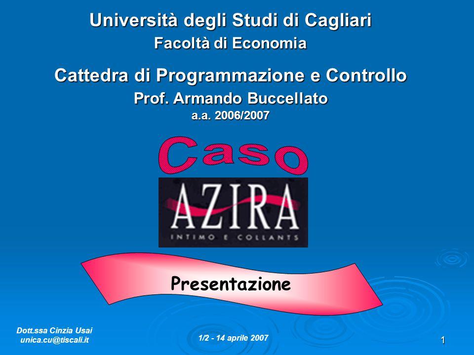 1 Università degli Studi di Cagliari Facoltà di Economia Cattedra di Programmazione e Controllo Prof. Armando Buccellato a.a. 2006/2007 Dott.ssa Cinzi