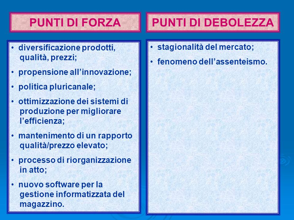 19 PUNTI DI FORZAPUNTI DI DEBOLEZZA diversificazione prodotti, qualità, prezzi; propensione all'innovazione; politica pluricanale; ottimizzazione dei