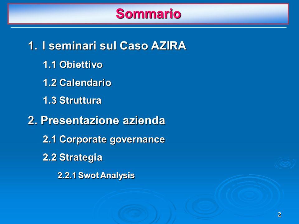 2 Sommario 1. I seminari sul Caso AZIRA 1.1 Obiettivo 1.2 Calendario 1.3 Struttura 2. Presentazione azienda 2.1 Corporate governance 2.2 Strategia 2.2