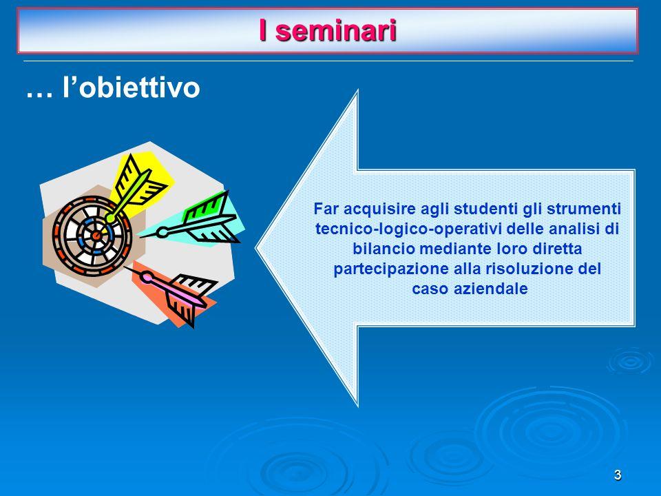 3 Far acquisire agli studenti gli strumenti tecnico-logico-operativi delle analisi di bilancio mediante loro diretta partecipazione alla risoluzione del caso aziendale I seminari … l'obiettivo