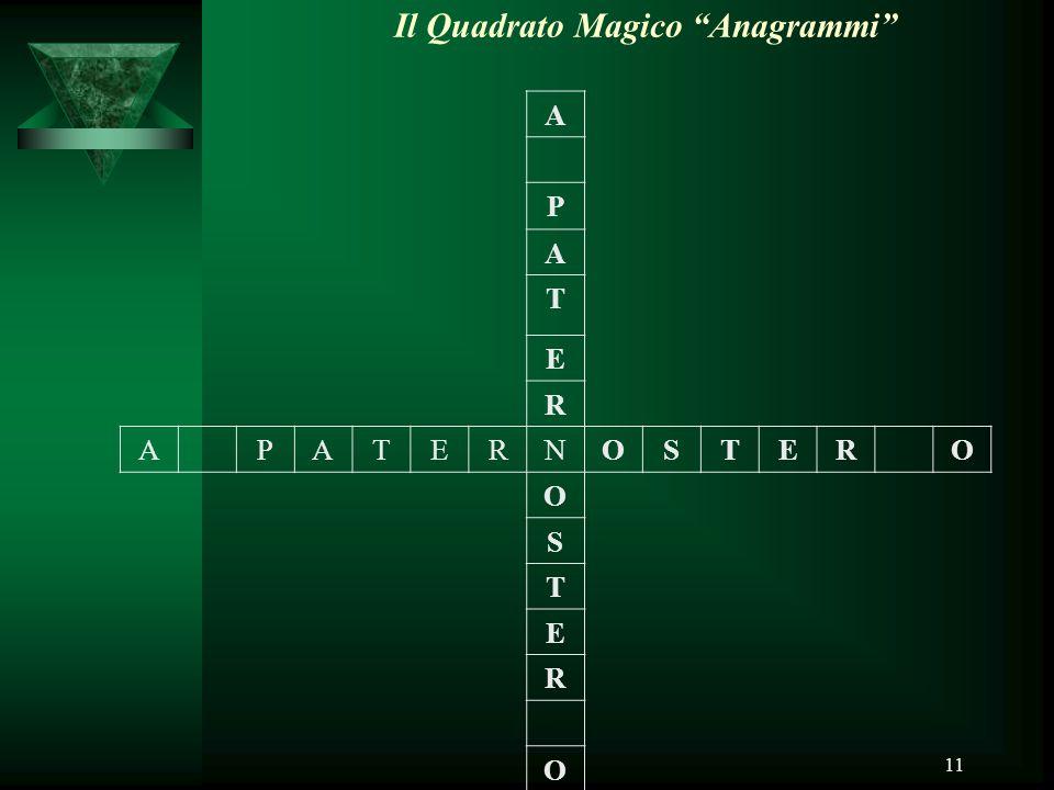 """11 Il Quadrato Magico """"Anagrammi"""" A P A T E R APATERNOSTERO O S T E R O"""