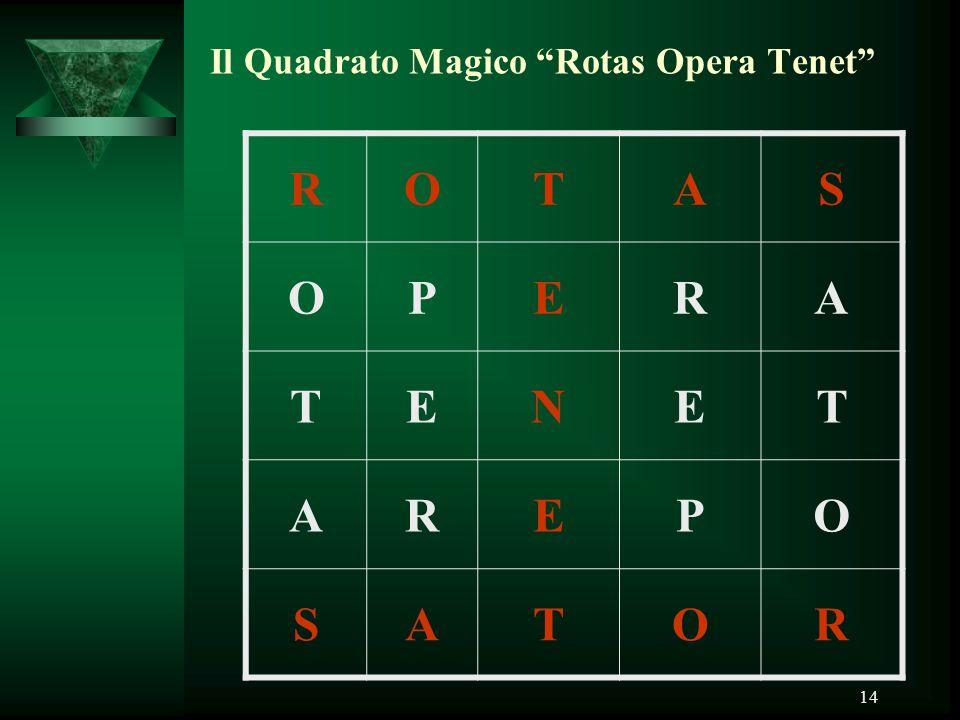 "14 Il Quadrato Magico ""Rotas Opera Tenet"" ROTAS OPERA TENET AREPO SATOR"