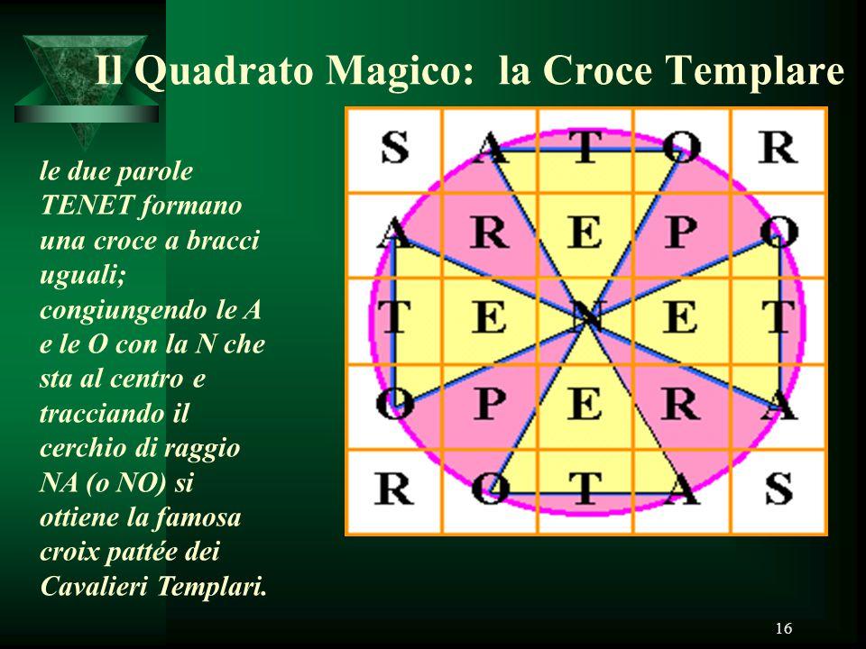 16 Il Quadrato Magico: la Croce Templare le due parole TENET formano una croce a bracci uguali; congiungendo le A e le O con la N che sta al centro e