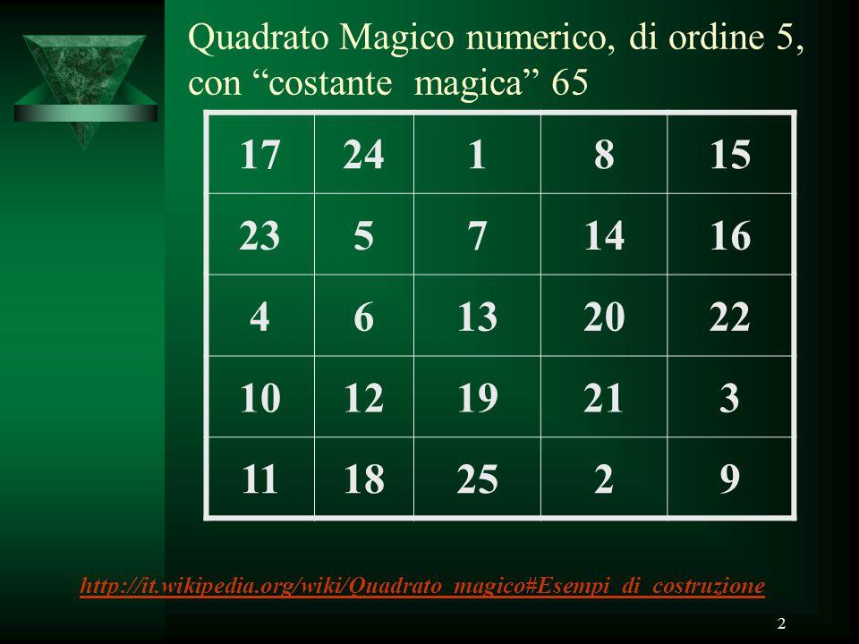 """2 Quadrato Magico numerico, di ordine 5, con """"costante magica"""" 65 17241815 23571416 46132022 101219213 11182529 http://it.wikipedia.org/wiki/Quadrato_"""
