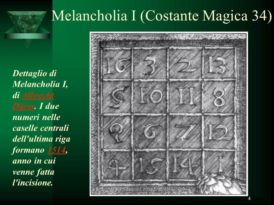 4 Melancholia I (Costante Magica 34) Dettaglio di Melancholia I, di Albrecht Dürer. I due numeri nelle caselle centrali dell'ultima riga formano 1514,