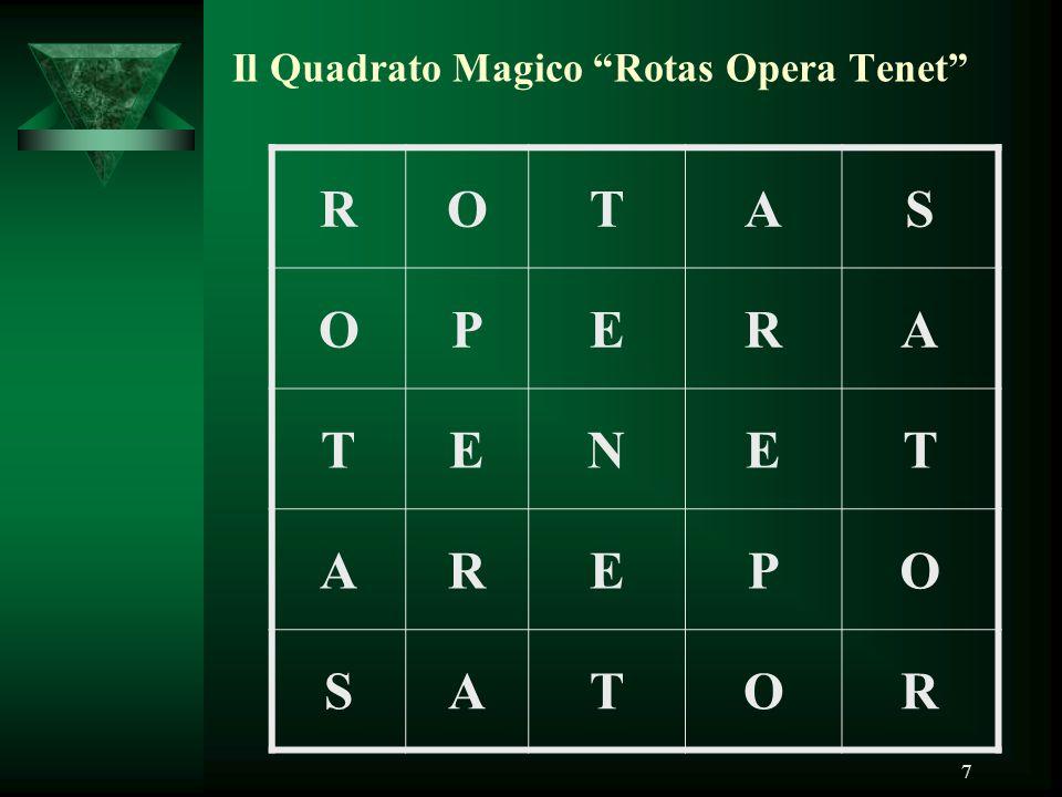 "7 Il Quadrato Magico ""Rotas Opera Tenet"" ROTAS OPERA TENET AREPO SATOR"