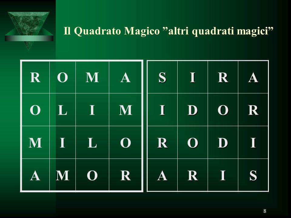 """8 Il Quadrato Magico """"altri quadrati magici"""" ROMA OLIM MILO AMORSIRAIDOR RODI ARIS"""