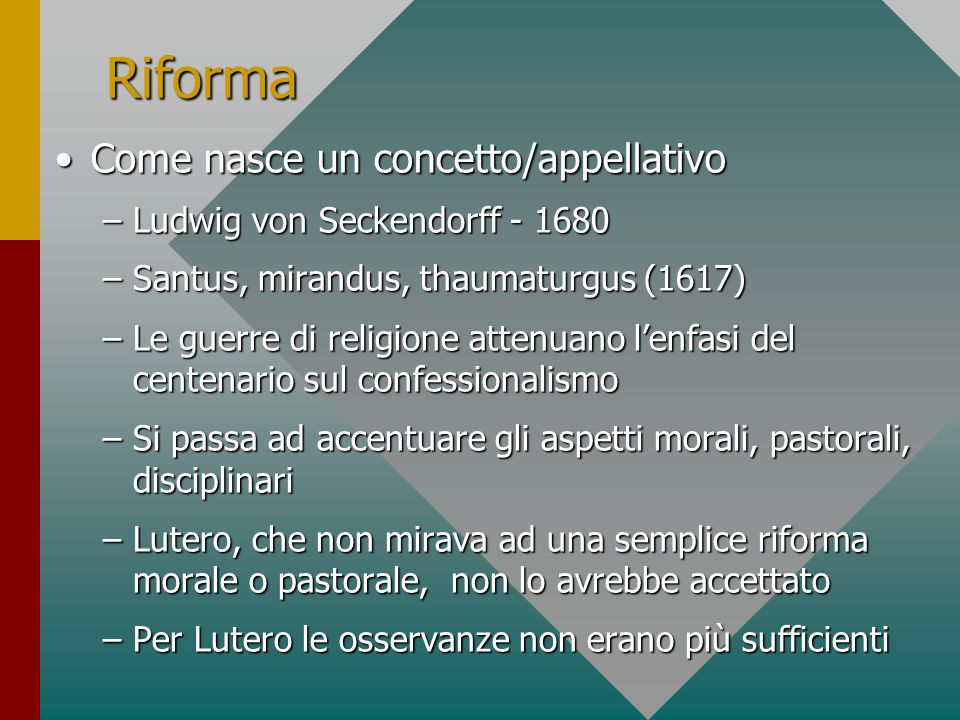 Excursus QualiQuali i progetti di riforma al tempo di Lutero.
