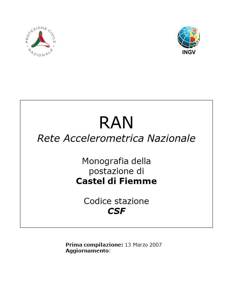 RAN Rete Accelerometrica Nazionale Monografia della postazione di Castel di Fiemme Codice stazione CSF Prima compilazione: 13 Marzo 2007 Aggiornamento: Logo RAN