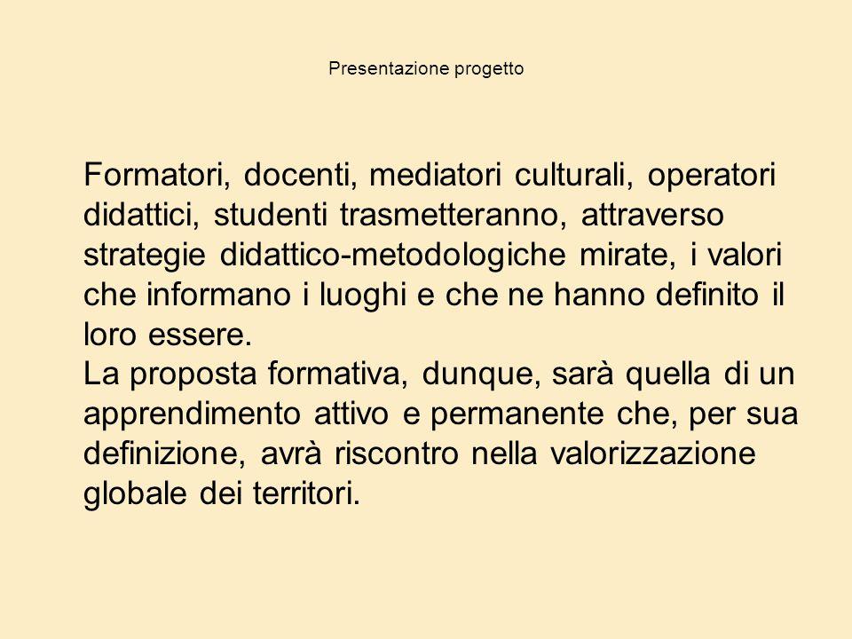 Presentazione progetto Formatori, docenti, mediatori culturali, operatori didattici, studenti trasmetteranno, attraverso strategie didattico-metodolog