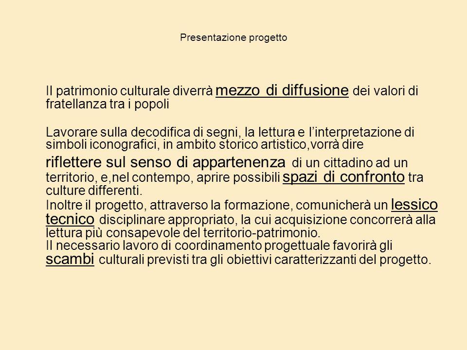 Presentazione progetto Il patrimonio culturale diverrà mezzo di diffusione dei valori di fratellanza tra i popoli Lavorare sulla decodifica di segni,