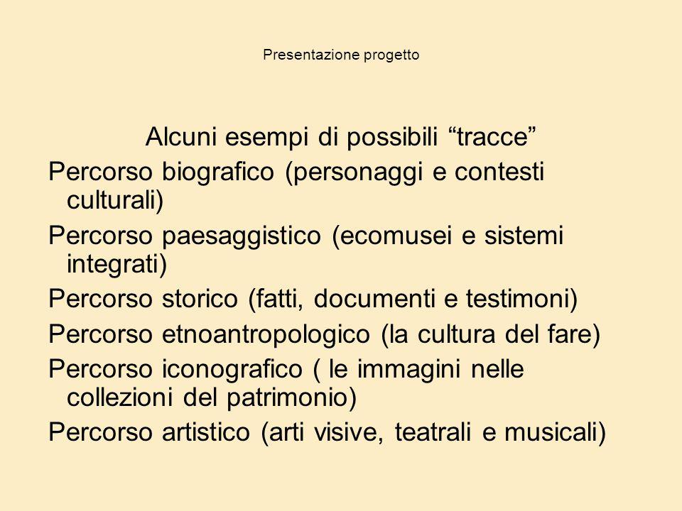 """Presentazione progetto Alcuni esempi di possibili """"tracce"""" Percorso biografico (personaggi e contesti culturali) Percorso paesaggistico (ecomusei e si"""