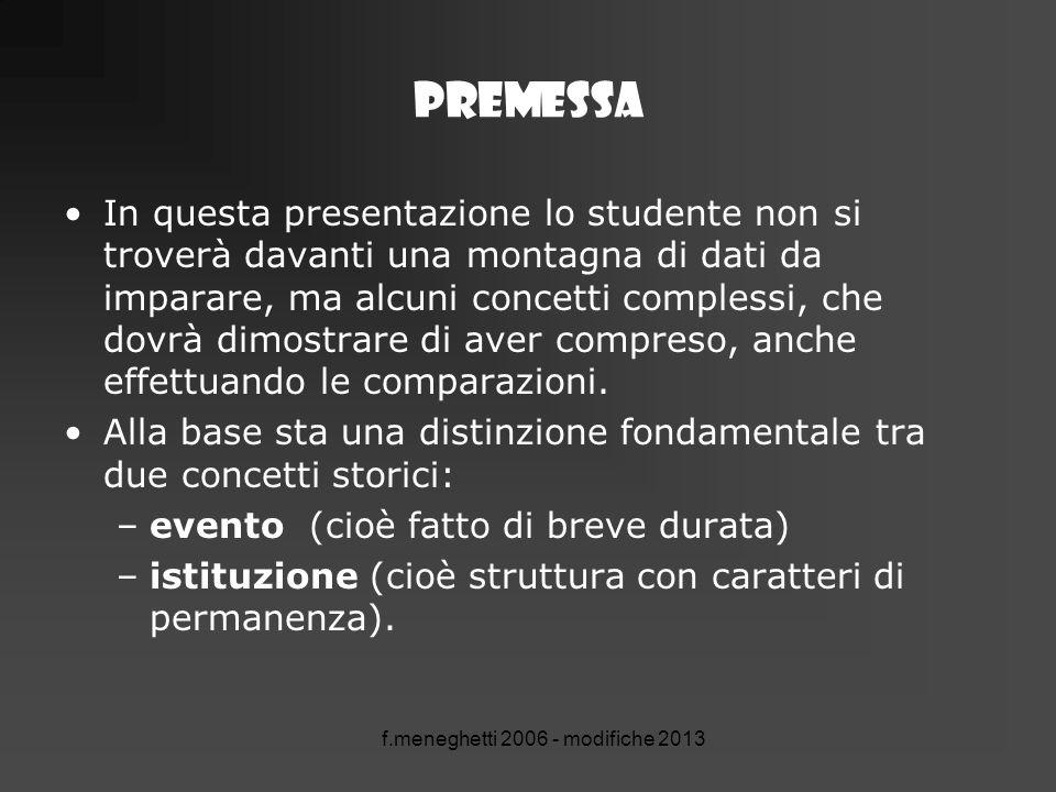 f.meneghetti 2006 - modifiche 2013 Premessa In questa presentazione lo studente non si troverà davanti una montagna di dati da imparare, ma alcuni con