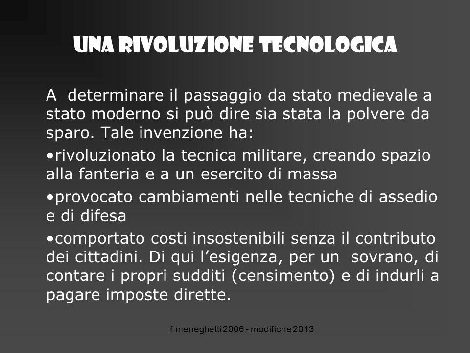 Una rivoluzione tecnologica A determinare il passaggio da stato medievale a stato moderno si può dire sia stata la polvere da sparo. Tale invenzione h