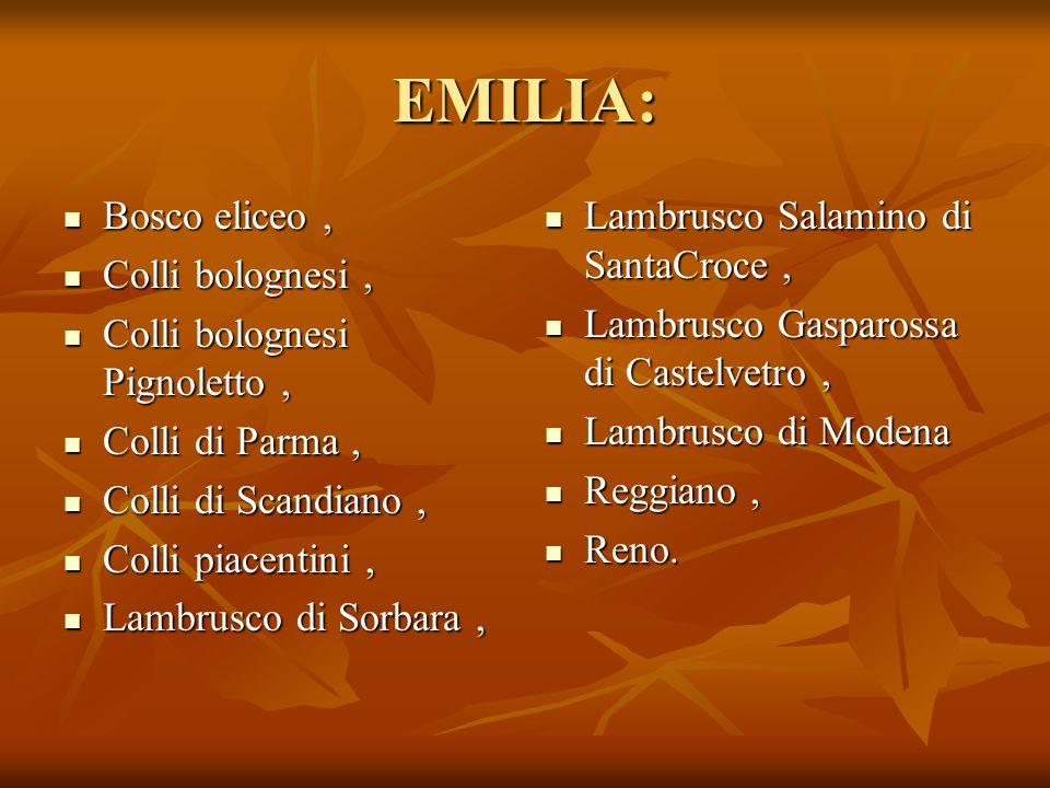 EMILIA: Bosco eliceo, Bosco eliceo, Colli bolognesi, Colli bolognesi, Colli bolognesi Pignoletto, Colli bolognesi Pignoletto, Colli di Parma, Colli di