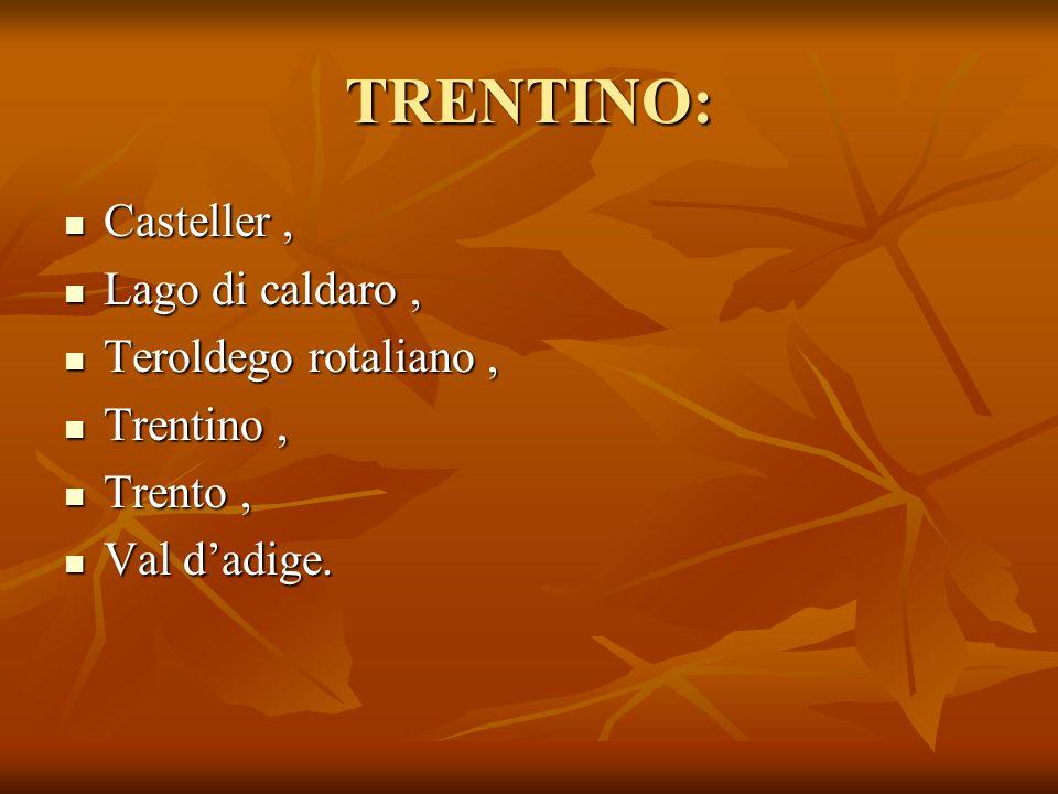 TRENTINO: Casteller, Casteller, Lago di caldaro, Lago di caldaro, Teroldego rotaliano, Teroldego rotaliano, Trentino, Trentino, Trento, Trento, Val d'
