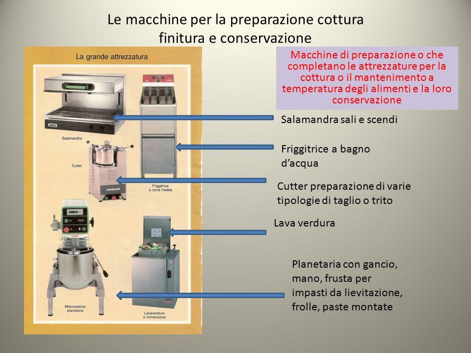 Le macchine per la preparazione cottura finitura e conservazione Macchine di preparazione o che completano le attrezzature per la cottura o il manteni