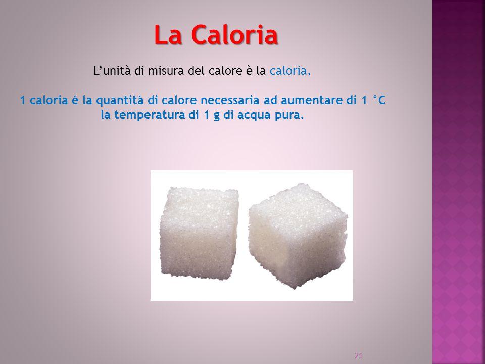 La Caloria L'unità di misura del calore è la caloria. 1 caloria è la quantità di calore necessaria ad aumentare di 1 °C la temperatura di 1 g di acqua