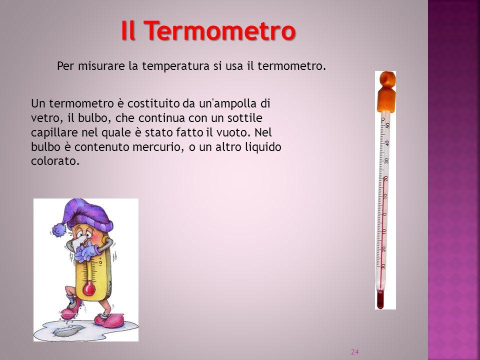 Il Termometro Un termometro è costituito da un'ampolla di vetro, il bulbo, che continua con un sottile capillare nel quale è stato fatto il vuoto. Nel