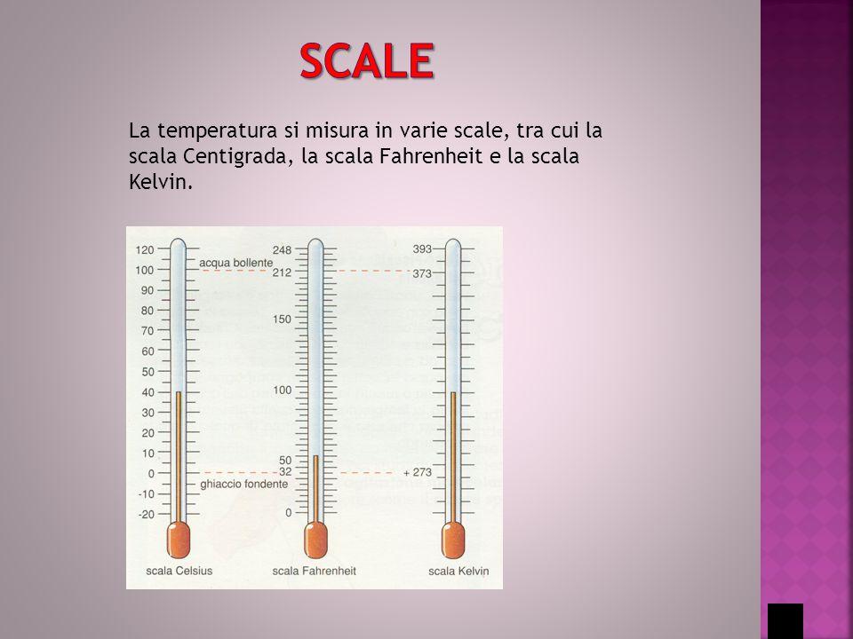 La temperatura si misura in varie scale, tra cui la scala Centigrada, la scala Fahrenheit e la scala Kelvin.