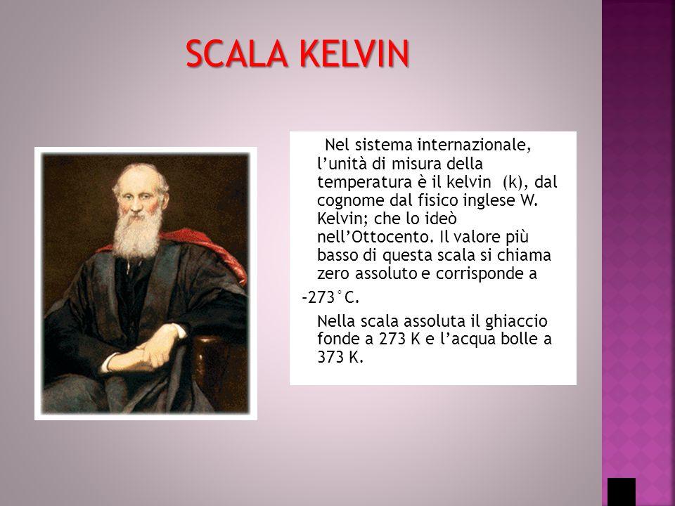 Nel sistema internazionale, l'unità di misura della temperatura è il kelvin (k), dal cognome dal fisico inglese W. Kelvin; che lo ideò nell'Ottocento.