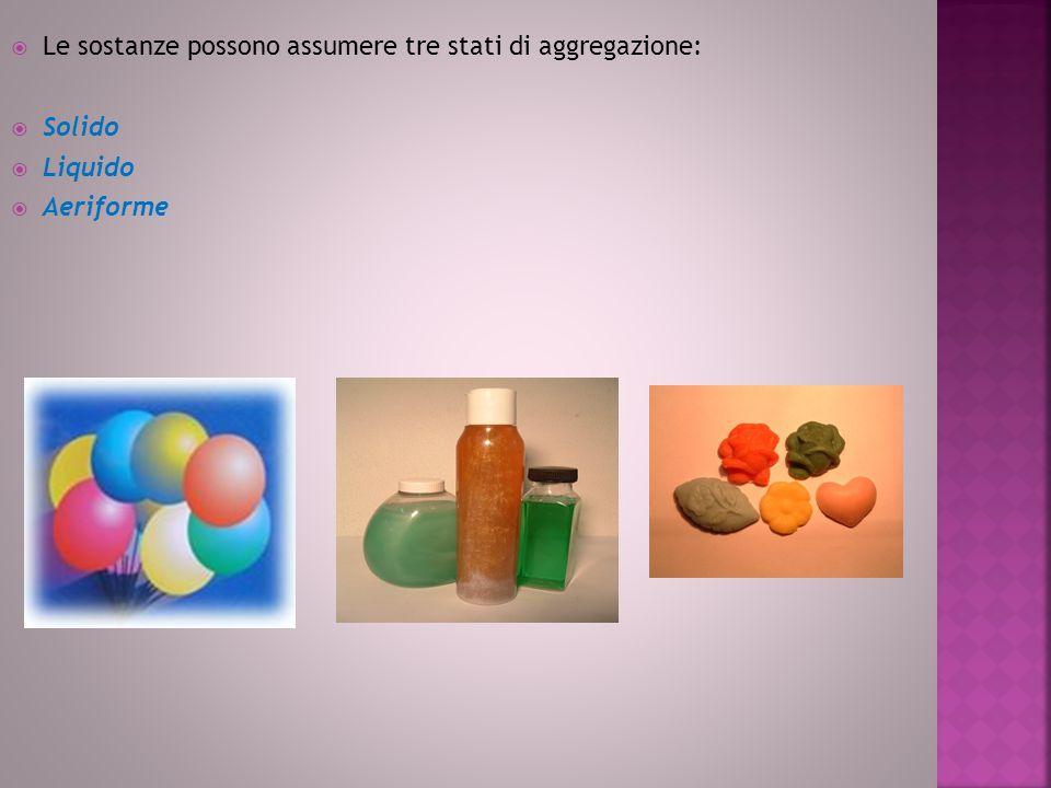 Le sostanze possono assumere tre stati di aggregazione:  Solido  Liquido  Aeriforme