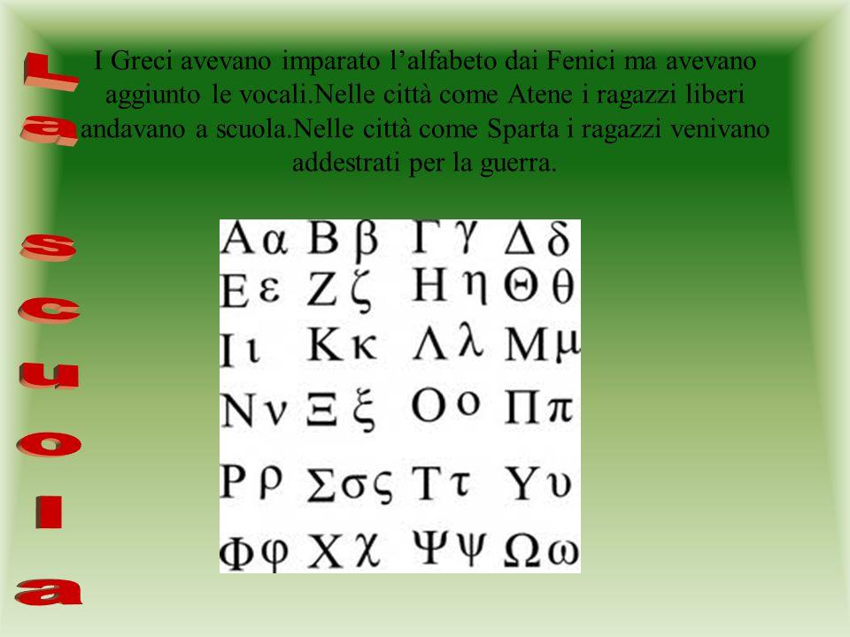 I Greci avevano imparato l'alfabeto dai Fenici ma avevano aggiunto le vocali.Nelle città come Atene i ragazzi liberi andavano a scuola.Nelle città com
