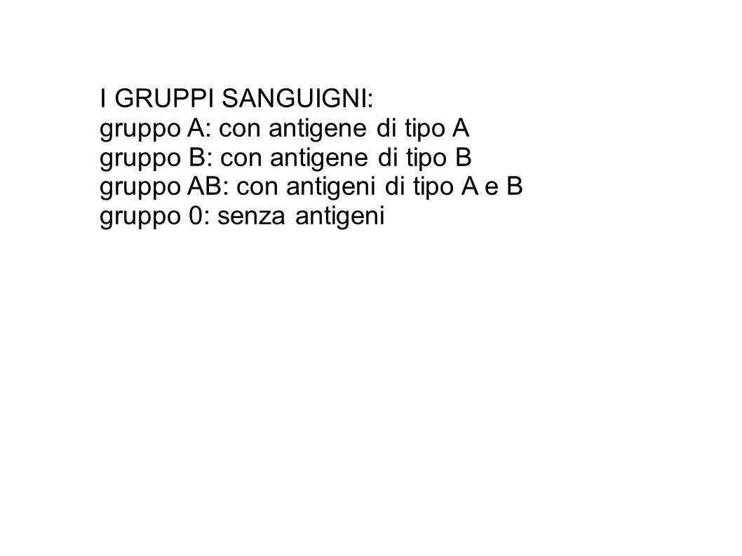 I GRUPPI SANGUIGNI: gruppo A: con antigene di tipo A gruppo B: con antigene di tipo B gruppo AB: con antigeni di tipo A e B gruppo 0: senza antigeni
